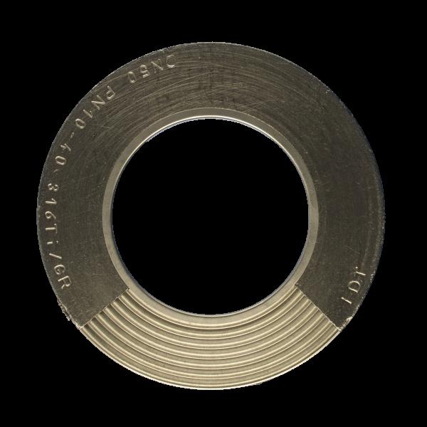 Banguota metalinė tarpinė su dvipusiu daliniu grafito sluoksniu ir vidiniu žiedu