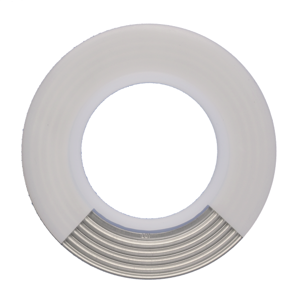 PTFE (TFM™) daugiasluoksnės tarpinės  su vidiniu difuziniu barjeru ir nerūdijančio plieno banguotu žiedu